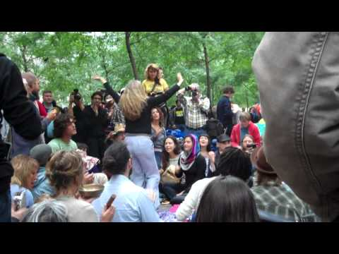 Occupy Wall Street - chanting, Hare Krishna, awesome lady dancing.