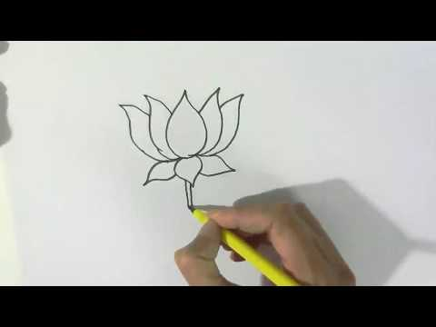 How to draw a Lotus  - in easy steps for children, kids, beginners