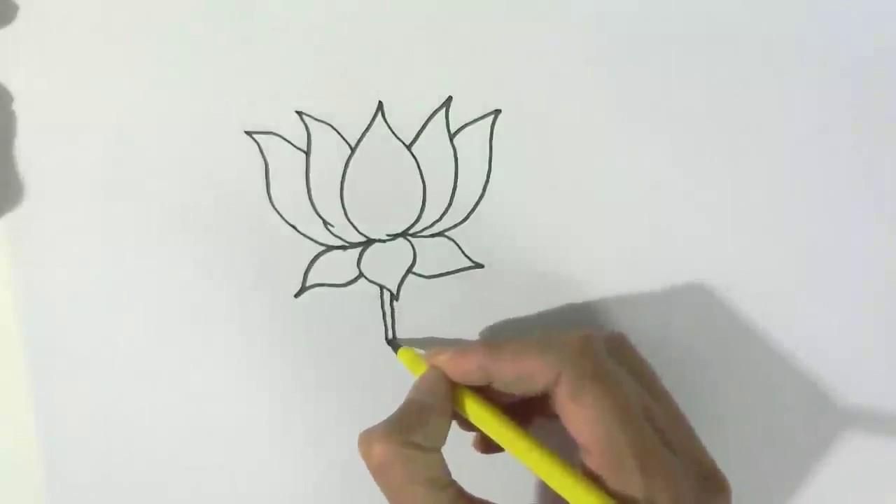 How To Draw A Lotus In Easy Steps For Children Kids Beginners