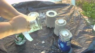 Beton giessen - DIY - Teelichthalter in Plastikflaschen