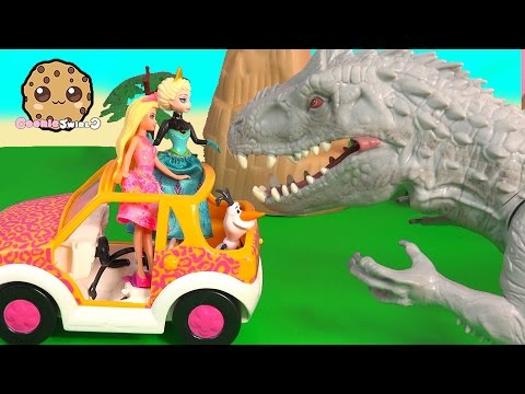 Barbie + Frozen Queen Elsa Meet Jurassic World DNA Color Dinosaur Indominus Rex Toy Unboxing