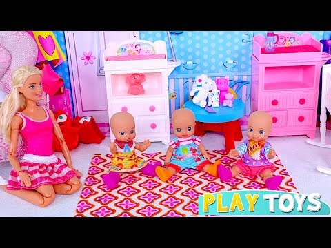 Play with Barbie Girl and Baby Dolls Babysitter Toys!
