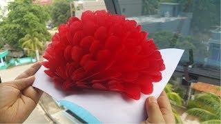 DIY, Paper Crafts.  How To Make 3D Flower Pop Up Card   کاردستی، ساخت گل کاغذی پاپ اپ