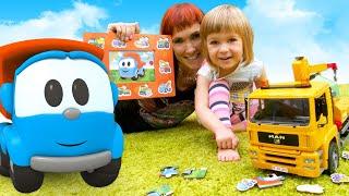 Бьянка и пазл Грузовичок Лева Развивающие видео для малышей Дада игрушки