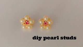 How To Make Beautiful Pearl Stud Earrings At Home/Wire Wrapperd Star Earrings/diy Earrings