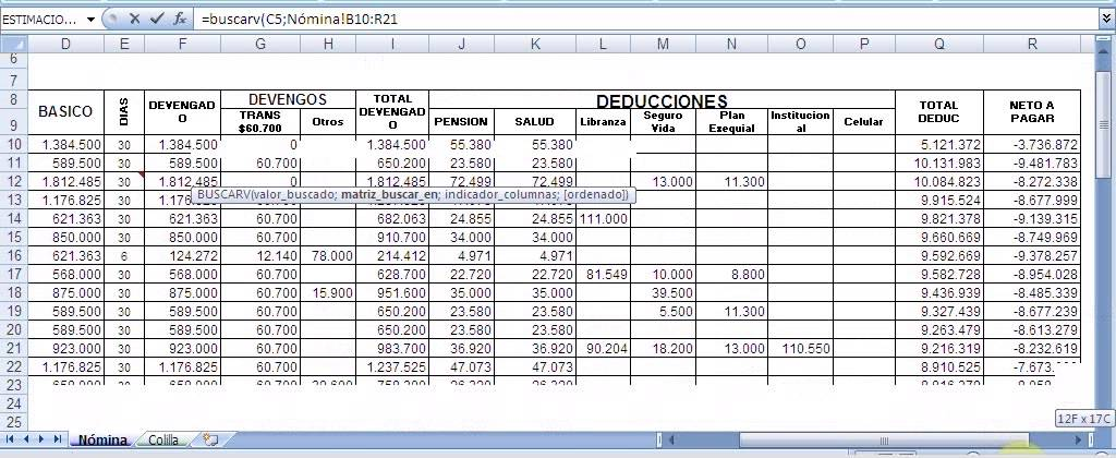 Calculo de nomina en excel for Calculo nomina semanal excel 2016