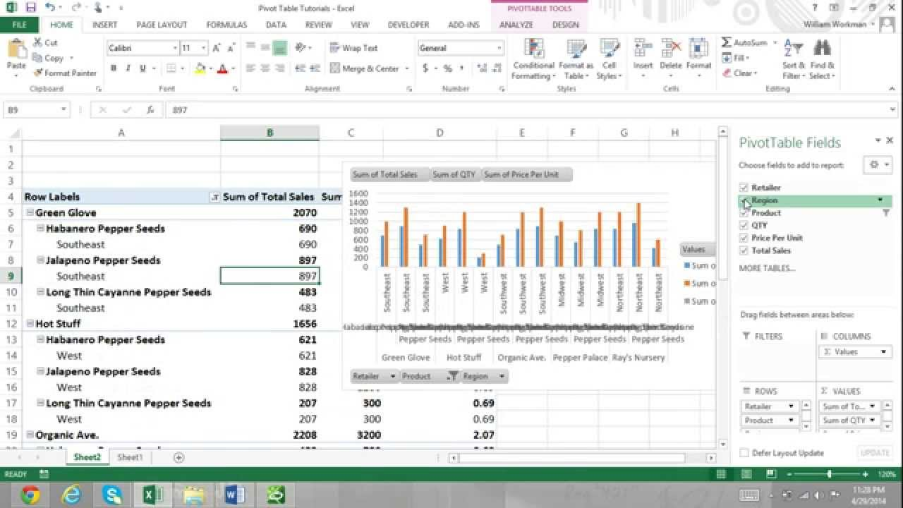 pivot table tutorial excel 2013 for beginners part 2 report filters
