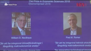 Ganan Nobel de Economía William D. Nordhaus y Paul M. Romer