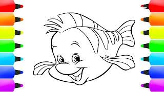 رسم وتلوين سمكة رائعة للاطفال صفحات التلوين صفحة تلوين الأسماك كيفية رسم وتلوين السمك Youtube