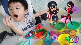 [玩具] 小陶德廚師用培樂多黏土做各種食物 扮家家酒! Play-Doh Kitchen Food Toy Play | 沛莉