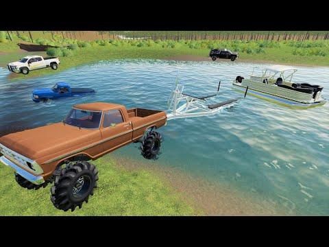Police ruin camping and boating on the lake   Farming Simulator 19 camping and mudding  