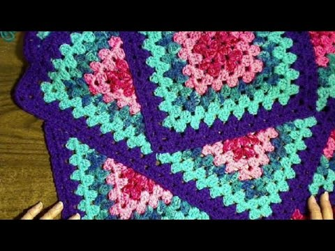 Squared Diamond Granny Throw Right handed