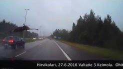 Varokaa hirviä - Raju hirvikolari tallentui videolle Keimolassa 27.6.2016