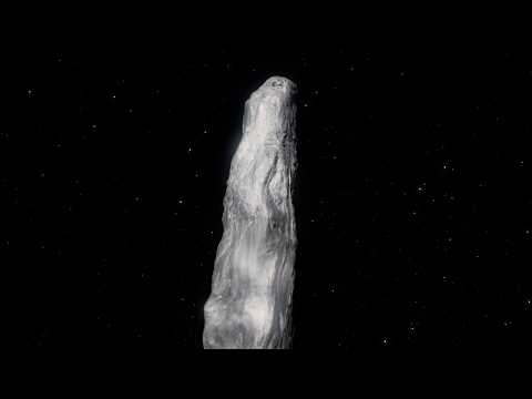 Animation of `Oumuamua passing through the Solar System (annotated)
