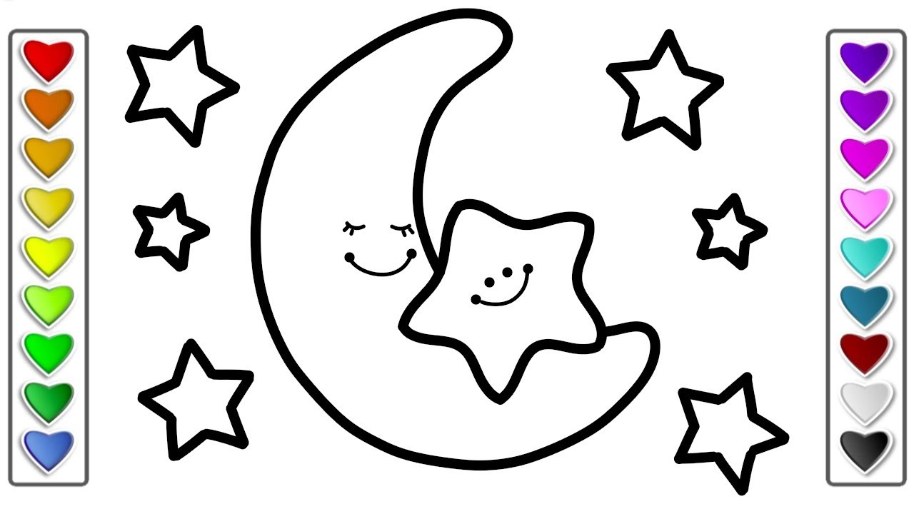 How to Draw Moon and Stars Step by Step l Drawing and