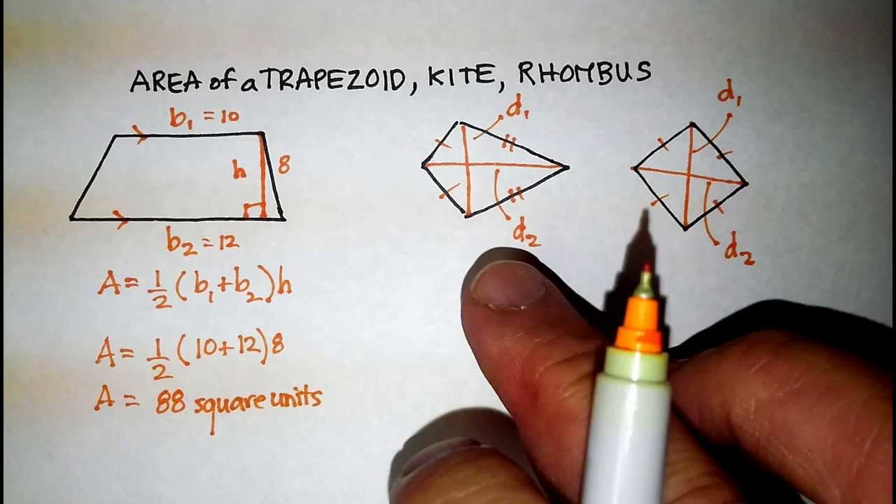 Polygons: Area Of A Trapezoid, Kite, And Rhombus