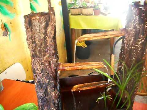 fuente de agua tronco rustico  YouTube