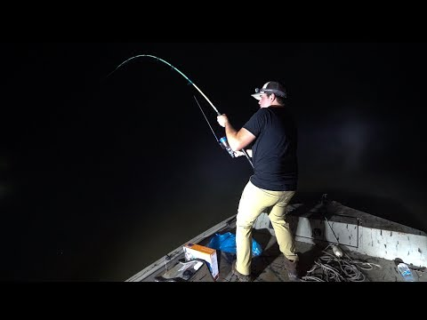 NIGHT FISHING For GIANT Alligator Gar!!! (Camping)