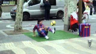 Lionel Messi Performs On The Streets Of Barcelona La Rambla