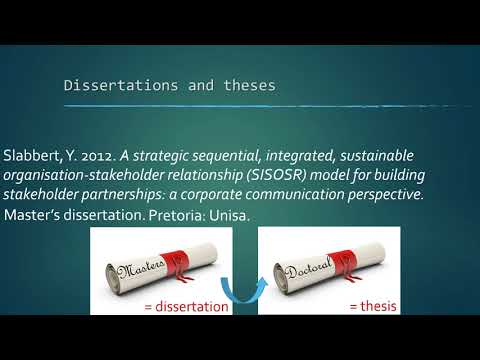 Видео Unisa theses and dissertations