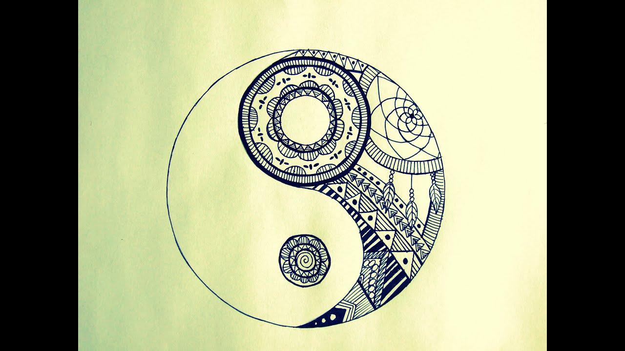 How To Draw Yin Yang Mandala Youtube