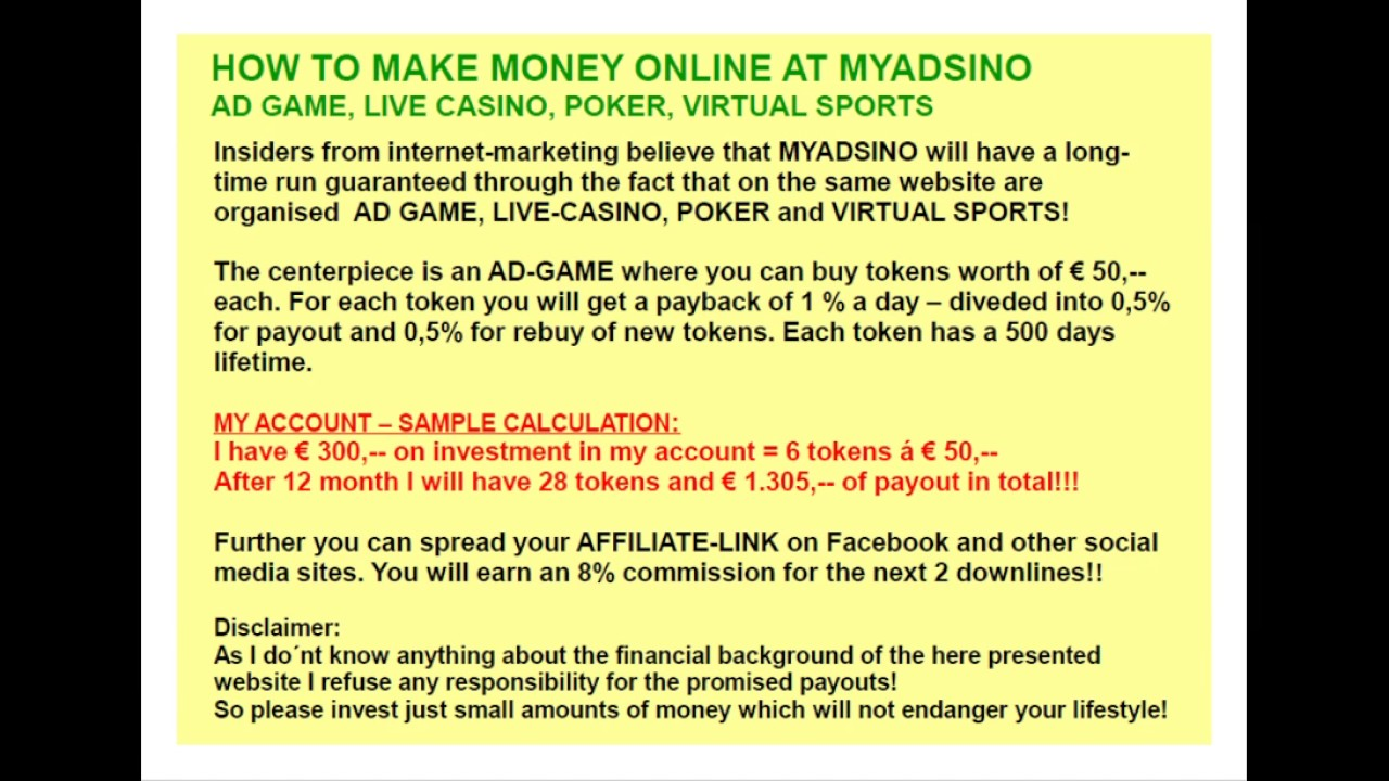 How To Make Money Online At Myadsino