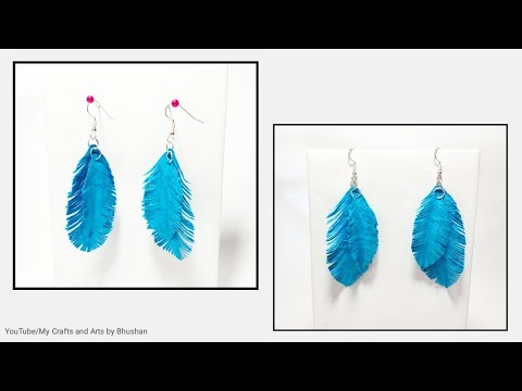 Easy Paper feather earrings | Handmade earrings #papercraft #handmadeart
