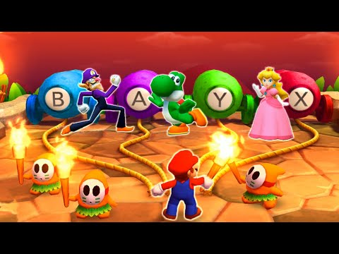 Mario Party The Top 100 MiniGames - Mario Vs Waluigi Vs Yoshi Vs Peach (...