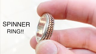Silver and Copper Spinner Ring! Making Ring! Jewelry Making   How its Made   4K