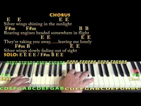 Silver Wings (Merle Haggard) Piano Cover Lesson in E with Chords/Lyrics