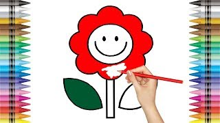 Coloring Pages Flower | Colouring Book | Learn Colors for Kids | How to Draw Flower