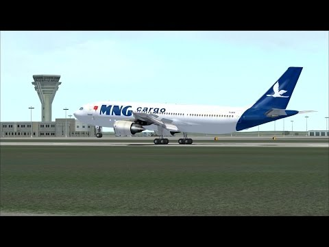 FSX Approach and landing in Antalya Airport (LTAI), Airbus A300 Freighter MNG Airlines