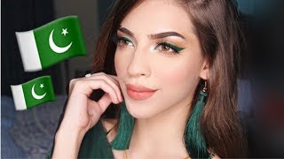 GREEN EYELINER WITH NUDE LIPS | INDEPENDENCE DAY MAKEUP TUTORIAL