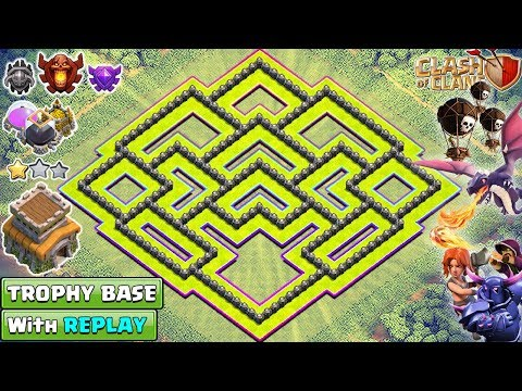 New BEST TH8 TROPHY/FARMING Base with REPLAY 2018 | Town Hall 8  Hybrid Base Design - Clash of Clans