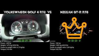 Volkswagen Golf 4 R32 vs. Nissan GT-R R35 - the 0-100 km/h duel. Wh...