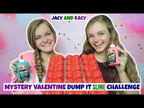Mystery Valentine Dump It Slime Challenge ~ Jacy And Kacy