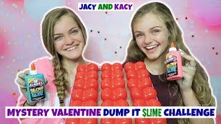 Mystery Valentine Dump It Slime Challenge ~ Jacy and Kacy