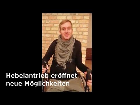 Samuel Koch testet Hebelrollstuhl (radius) - so viel Bewegung ist ihm mit dynamischem Sitz möglich