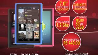 """Tablet Powerfast - 7.0"""" Capacitivo, 4G, Processador 1.2Ghz, Android 4.0 - TCTB 7106A Plus"""