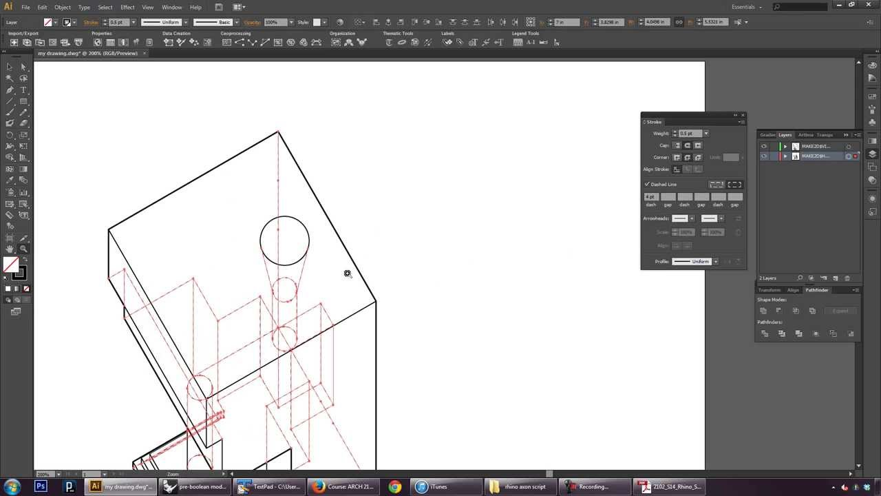 Rhino Tutorial 5 of 5: Axonometric Line Drawing with Make2D