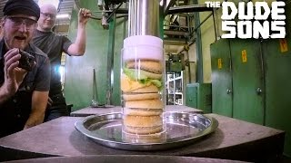 Ultimate Hamburger Challenge with Hydraulic Press Channel!