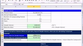 excel 2010 business math 80 compare simple compound interest future value calculations