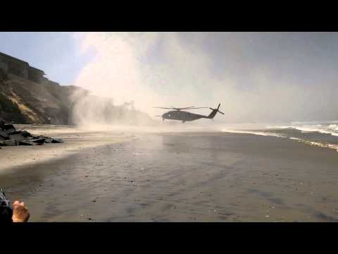 Military helicopter makes emergency landing on San Diego beach.