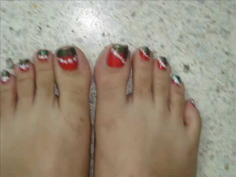 Christmas Toe Nail Art Tutorial Part I By Pinkpuff Prince Sneak