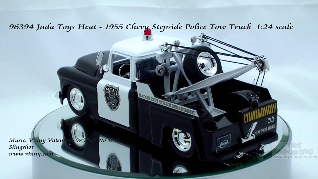 1955 Chevy Truck >> 96394 Jada Toys Heat 1955 Chevy Stepside Police Tow Truck ...