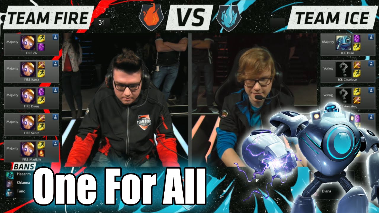 Team Ice vs Team Fire | One For All Mode Match LoL All-Stars 2015 LA | 10  Blitzcranks - YouTube