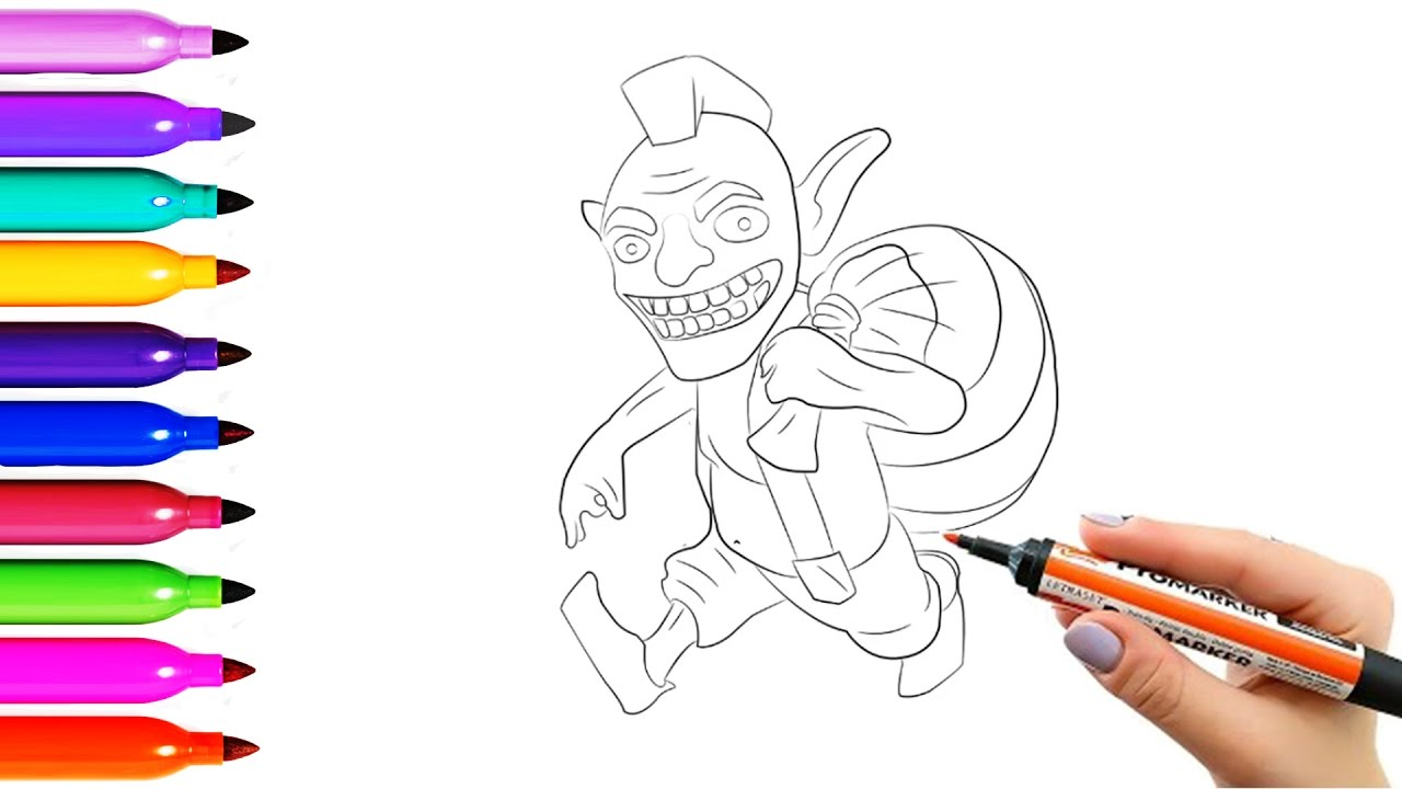 drawing coloring pages clash royale goblin characters and draw and coloring pages for kids