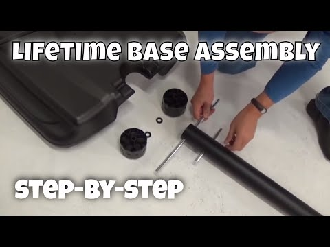 Lifetime Telescoping Pole To Base Assembly For Portable Basketball System