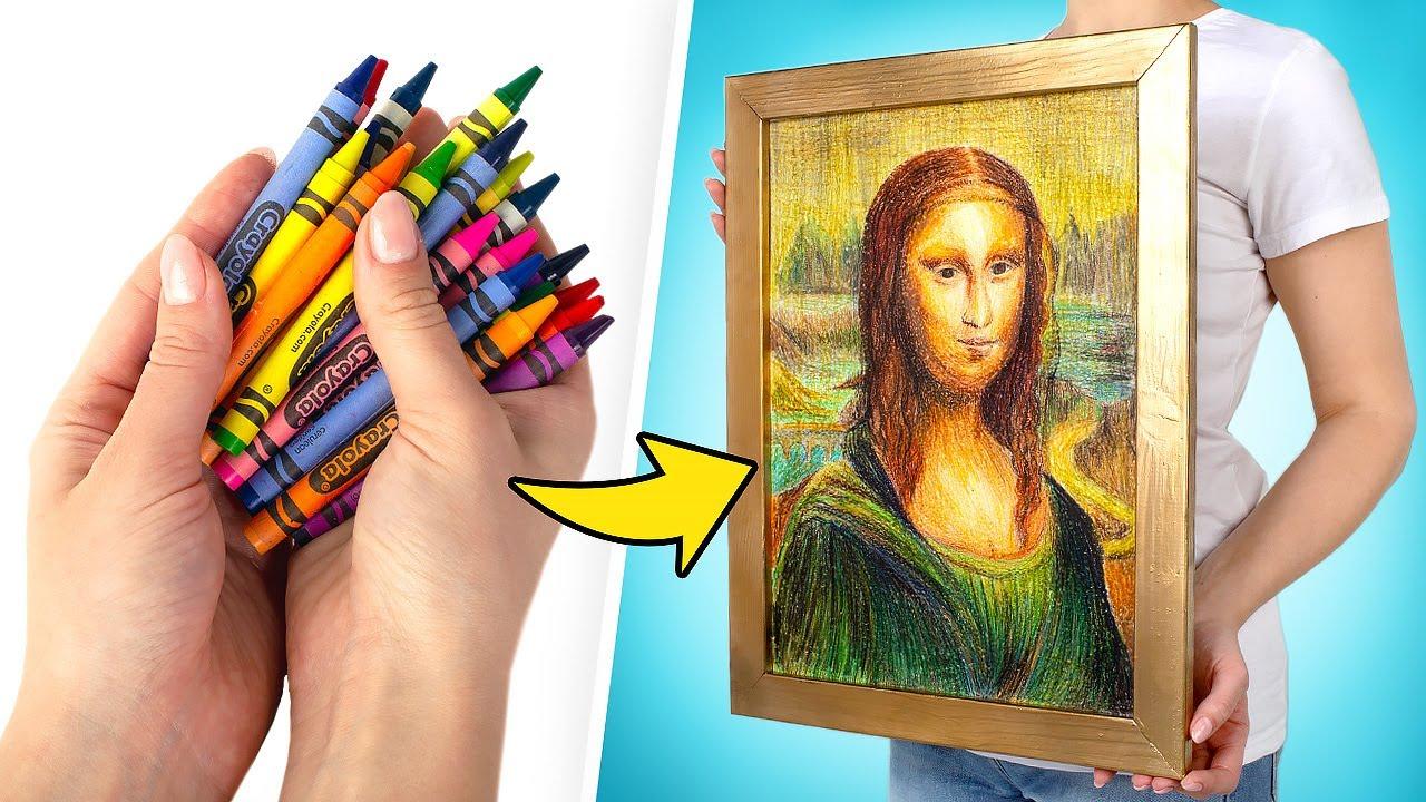 Como Desenhar a Mona Lisa com Giz de Cera🖍