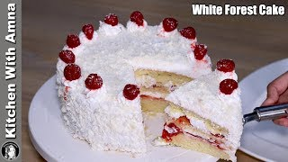 White Forest Cake Without Oven | White Forest Cake Recipe | Kitchen With Amna